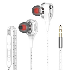 In-Ear Earphones High Bass Dual Drive Headset With Microphone Earbuds Headphones For Android/iPhone white