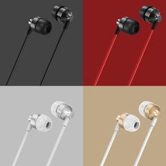 Metal In-Ear Headphones Universal Metal Wired Control In-ear Durable Sport Waterproof Earphones black