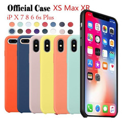 Original Official Silicone Phone Case For iPhone 7 8 6 S Plus XS MAX XR X Case Logo Cover Case red iphone 6 6s case