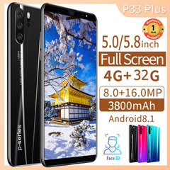 New phones P33 Pro 5.0/5.8inch 4G+32G 16MP+8MP Face&Fingerprint 3800mAh Dual SIM smartphone gradient red 5.0 inch