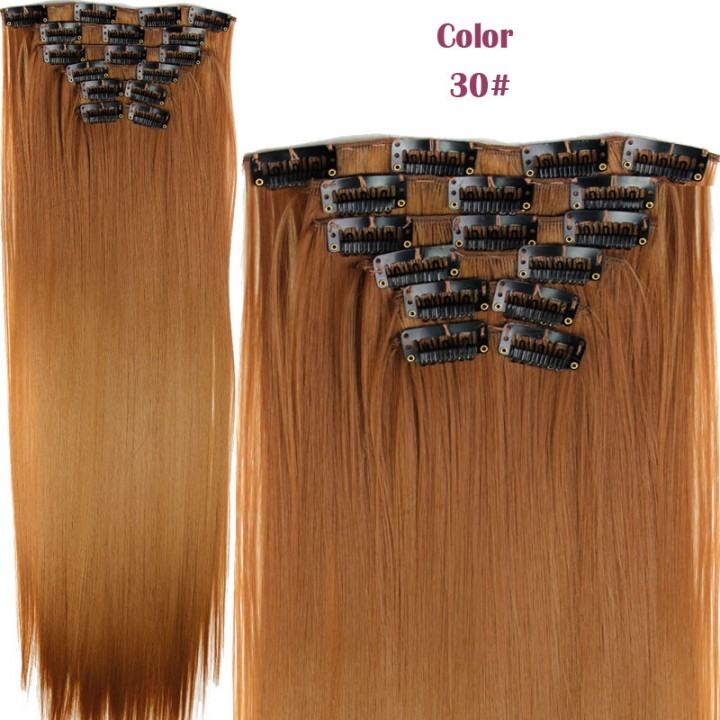 2016 New Straight 16 Clips in Hair Styling Synthetic Extensions  for Christmas Gift 30# One Size