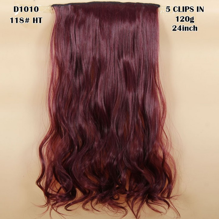 New Hairpiece Curly 5 Clips in Hair Styling Synthetic Extensions  for Christmas Gift 118#HT 24cm