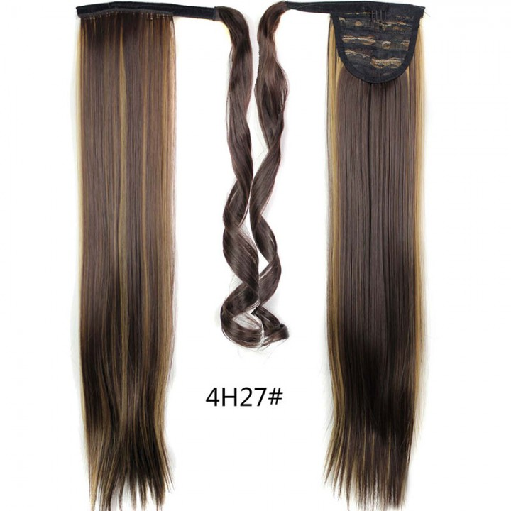 Straight Long Magic Wavy Clip Hair Drawstring Ponytails Hairpiece for Christmas Gift 4 61cm