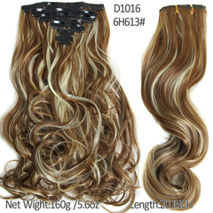 2016 New Hairpiece Curly 16 Clips in  Hair Styling Synthetic Clip In Hair Extensions 1 35cm