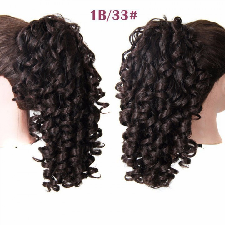 2016 New Arrival Fashion Long Claw Clip long Ponytail Hair Curly Synthetic Hairpiece 2 40cm
