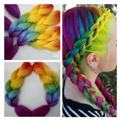 2016 New Arrival Fashion Synthetic Hair Extension Rainbow Color Hairpiece 1 60cm