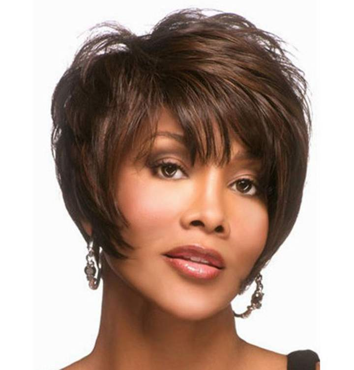 Fashion Fluffy Side Bang Brown Mixed Black Charming Short Straight Synthetic Capless Wig For Women Colormix 30cm