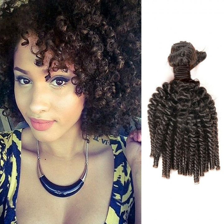 100% Unprocessed Virgin Hair Afro Curly Style Human Hair 1pc/100g  for Valentine's Day Natural Black 12inch
