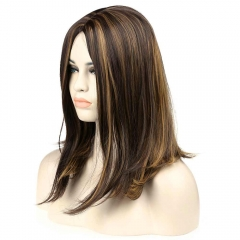 Attractive Side Bang Mixed Color Medium Heat Resistant Synthetic Capless Straight  Wig For Women Colormix 43cm