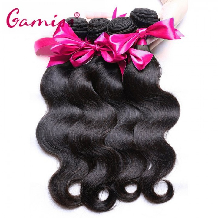 4pcs Burmese Body Wave Extension Human Hair Weave  for Valentine's Day Natural Black 8*10*12*14INCH