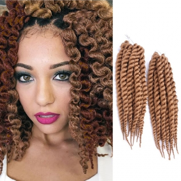 "2016 New Arrival 14"" Rope Twist Braid Curly Hair Synthetic Braid Hair Extensions for Christmas Gift Light Brown 38cm"