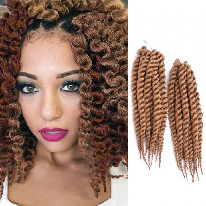 """2016 New Arrival 14"""" Rope Twist Braid Curly Hair Synthetic Braid Hair Extensions for Christmas Gift Light Brown 38cm"""