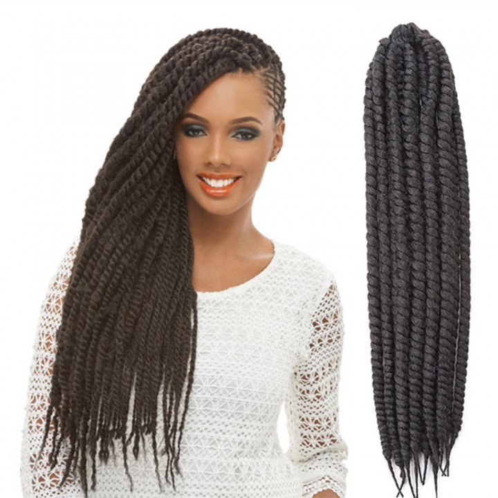 "2016 New Arrival 22"" Mambo Twist Braid Curly Hair Synthetic Braid Hair Extensions for Christmas Gift Black 55cm"