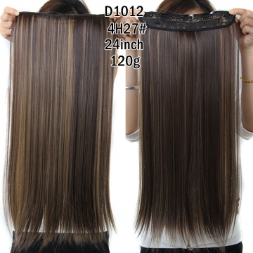 New Straight  Clips in False Hair Styling Synthetic Clip In Hair Extensions  for Valentine's Day Dark Brown and Blond 59cm