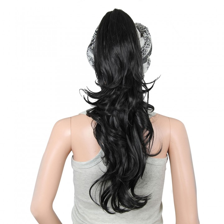 Fashion Long Claw Clip long Ponytail Hair Curly Synthetic Hairpieces Black 24cm