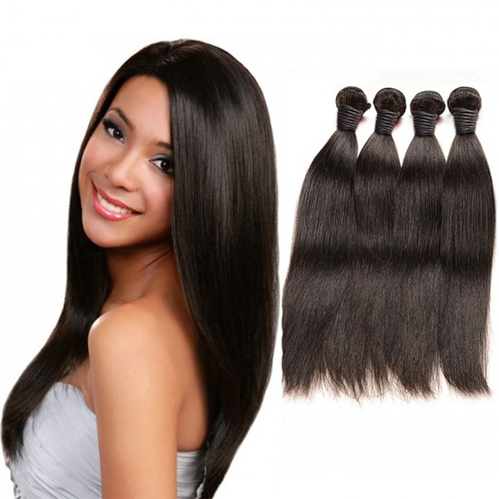 100% unprocessed virgin hair Straight style human hair 1pc/100g  for Valentine's Day Natural Black 12inch
