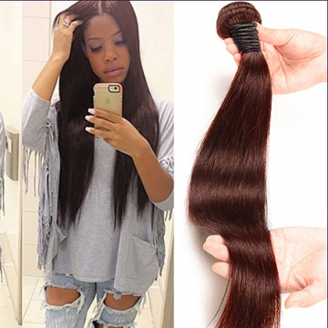 100% Unprocessed Virgin Hair Straight Style Human Hair 1pc/100g  for Valentine's Day Brown 12inch