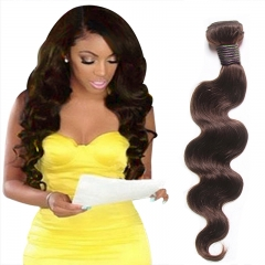 100% Unprocessed Virgin Hair Body Wave Style Human Hair 1pc  for Valentine's Day Brown 20inch