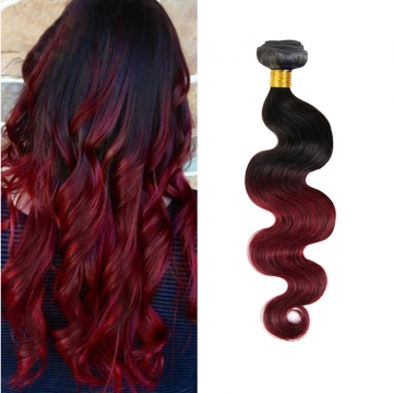 100% unprocessed virigin hair Body wave style ombre human hair 1pc/100g  for Valentine's Day Wine Red 12inch