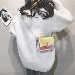 2019 Women Laser Transparent Shoulder Bag Female Messenger Chain Bag PVC Small Crossbody Handbag Pink Normal