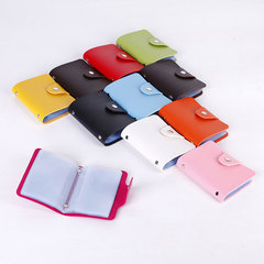 Random Color Bank Credit Card Holder Men Women Leather Business ID Card 24 Bit CardCase Cover Wallet Multicolors Normal
