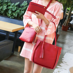 Women Bag 4Pcs/Set Fashion PU Leather Casual Composite Shoulder Bag Ladies Handbag Female Tote Bags Red Normal