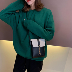 Cute Deer Design Fashion Small Shoulder Bag for Girls Women Casual Messenger Bag Ladies Phone Bags Black Vertical