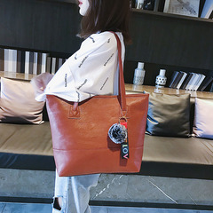 New PU Leather Shoulder Bags for Girls Large Capacity Women Casual Handbag Ladies Wild Shopping Tote Brown Normal