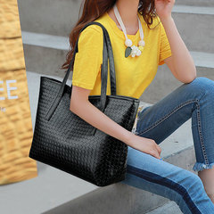 Fashion Weave Women Handbag Large Capacity Casual Tote Shopper Bag PU Leather Ladies Shoulder Bags Style1 Normal