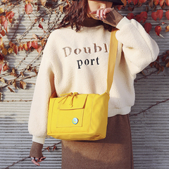 Women's Casual Canvas Shoulder Bag Fresh Style Messenger Bag for Girls Young Student Crossbody Bags Yellow Normal