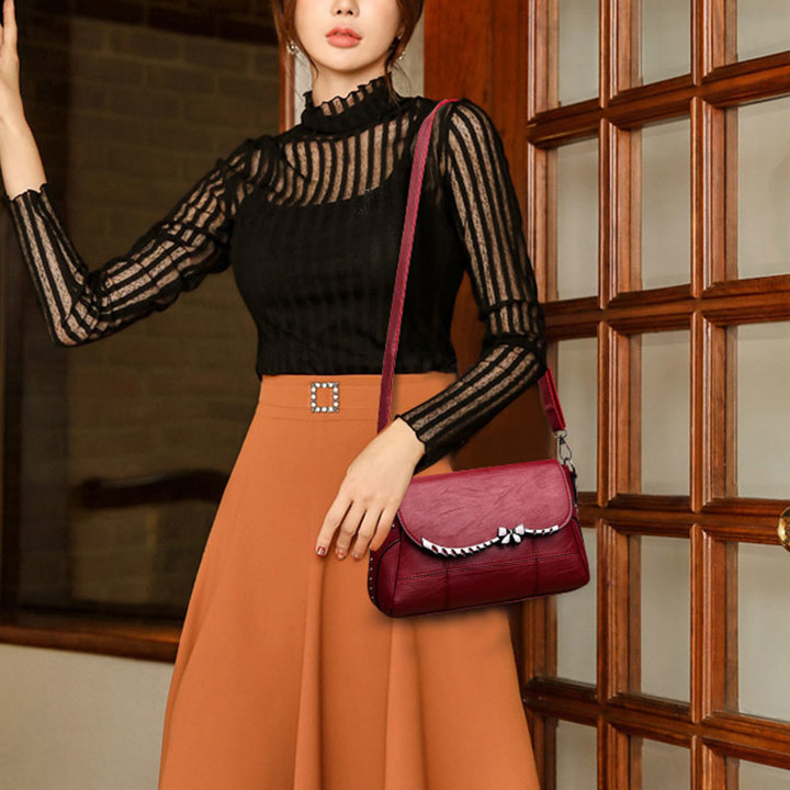 9e822525bc4 Retro Fashion Shoulder Bag Luxury Leather Clutch Bag for Mum Lady Handbag &  Purse 2019 New Black&Red Red Normal