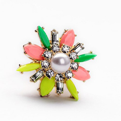 Chic Faux Pearl and Colorful Gemstone Embellished  Women's Ring