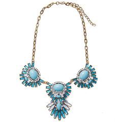 Stunning Faux Gemstone Embellished Necklace blue One size