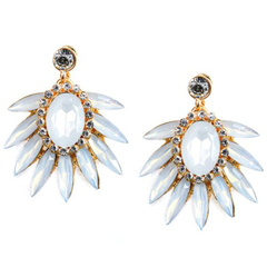 Pair of Chic Beads Faux Gem Leaf Earrings White One size
