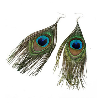 Ethnic Style and Stylish Peacock Feather Pendant Earrings