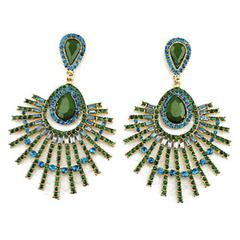 Pair of Gorgeous Rhinestone Gem Openwork Earrings Green One size