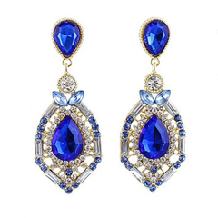 Pair of Chic Colorful Waterdrop Shaped Pendant Earrings Sapphire blue One size