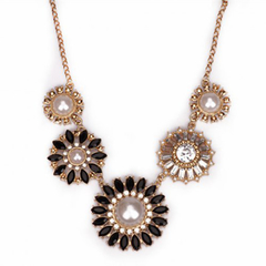 Stylish Pearl Rhinestone Round Flower Necklace