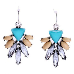 Pair of Cute Blossom Shape Rhinestone Decorated Earrings