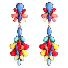 Pair of Sweet Colored Rhinestone Embellished Water Drop Shape Earrings