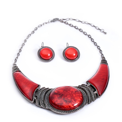 A Suit of Ethnic Style Artificial Gem Decorated Pendant Necklace and Earrings Red One size