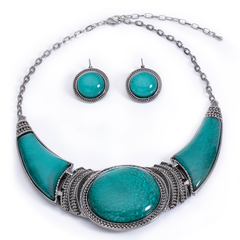 A Suit of Ethnic Style Artificial Gem Decorated Pendant Necklace and Earrings Blue One size