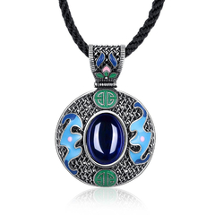 Ladies Popular National Style Necklace Silver+Blue One size