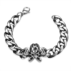 Skull Pattern Fashion Stainless Steel Man Bracelet Silver One size