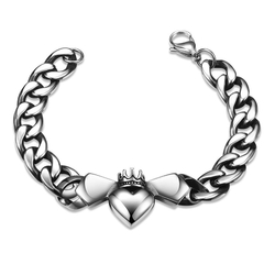 Fashion Bat Pattern 316L Stainless Steel Bracelet Silver One size