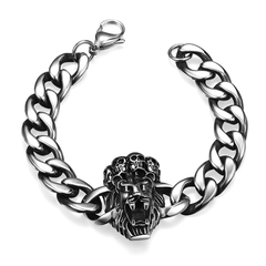 Fierce Lion Head Pattern Stainless Steel Bracelet Silver One size