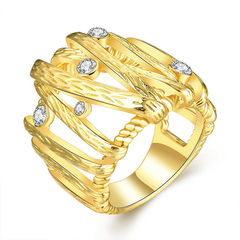 Nickle Free Antiallergic New Fashion Jewelry 18K Gold Plated Ring Golden 7
