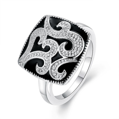 Silver Plated Geometric Pattern  Finger Ring Silver 7