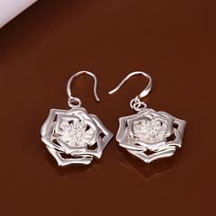 Pair Of Women Rhinestone Delicate Flower Shape Earrings Silver One size