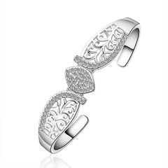 Cute Rhinestone Openwork Leaf Bracelet For Women